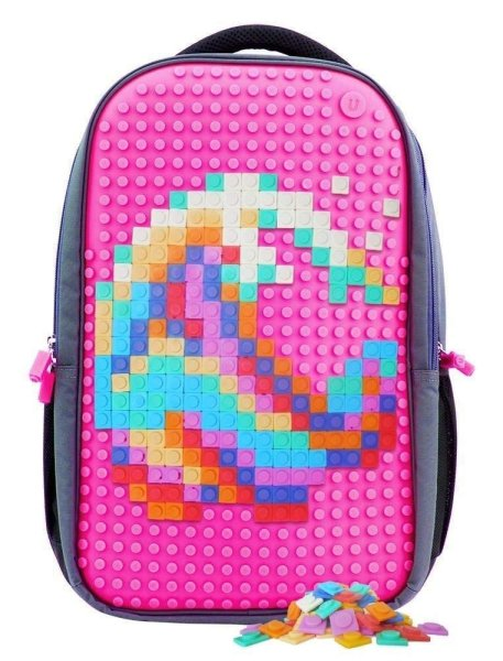 Upixel Trends Double Rucksack pink   Clevere Aufteilung, zwei Fächer, mit Seitentaschen   15 L