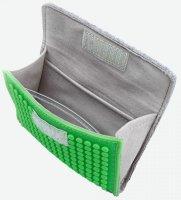 Upixel Kult-Portemonnaie grau/grün | Inkl. Silikon-Pixel für deinen eigenen Style - BxH 13x10 cm
