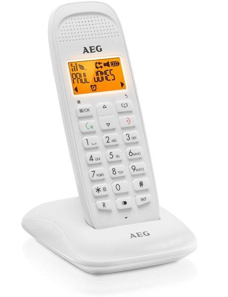 AEG Voxtel D81 DECT-Telefon weiß | Schnurlos mit Freisprechfunktion, Ladestation und Netzteil