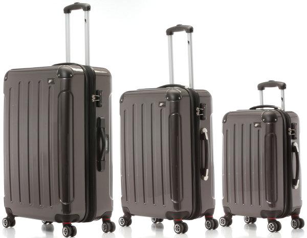 Trolleyset, Waage, TSA, Anthrazit | 3er Kofferset mit Dehnfalte und 360°-Doppel-Leichtlaufrollen