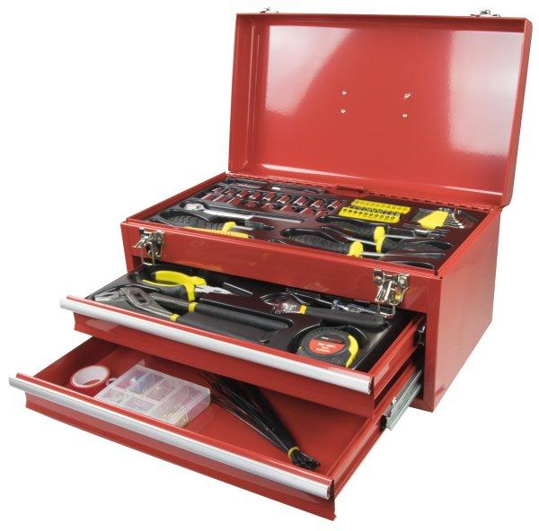 Kinzo Werkzeugkoffer 196-teilig | Koffer aus stabilem Stahlblech, Werkzeug aus Chrom-Vanadium