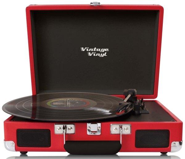 Vintage Vinyl, tragbar, rot | Retrodesign Plattenspieler mit integriertem Lautsprecher