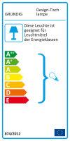 GRUNDIG Design-Tischlampe silber | Echtholzarm individuell einstellbar, gewebtes Kabel, 25W