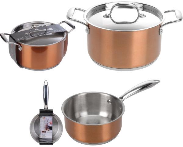 EXCELLENT HOUSEWARE® Topfset Kupfer | Aus rostfreiem Edelstahl, geeignet für alle Kochfelder