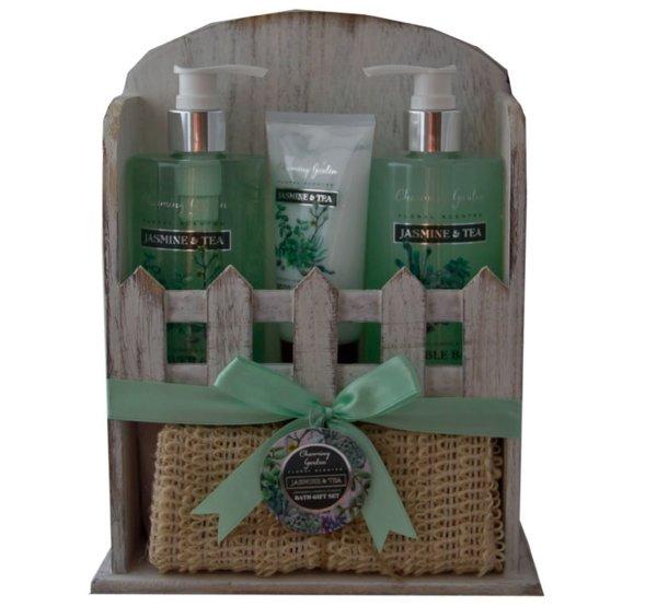 Pflege Geschenkset im Holzregal | 4 Produkte mit fruchtigem Duft nach Maracuja und Grapefruit