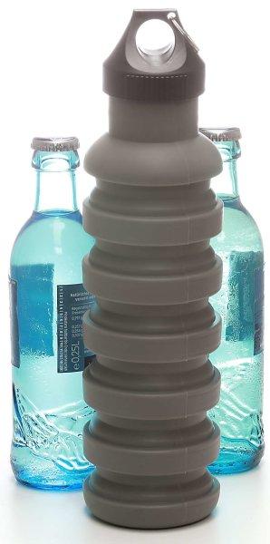 Silikon-Trinkflasche (700ml), grau | Faltbar, BPA frei - FDA genehmigt, Kunststoffverschluss