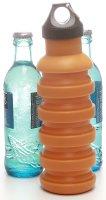 Silikon-Trinkflasche (550ml) orange | Faltbar, BPA frei - FDA genehmigt, Kunststoffverschluss