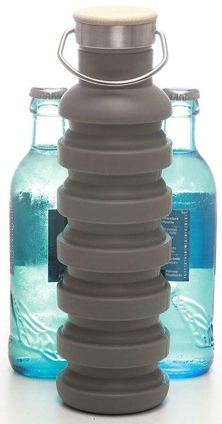 Silikon-Trinkflasche (700ml), grau | Faltbar, BPA frei - FDA genehmigt, Holzverschluss