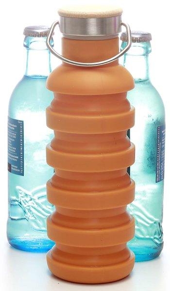 Silikon-Trinkflasche (550ml) orange | Faltbar, BPA frei - FDA genehmigt, Holzverschluss