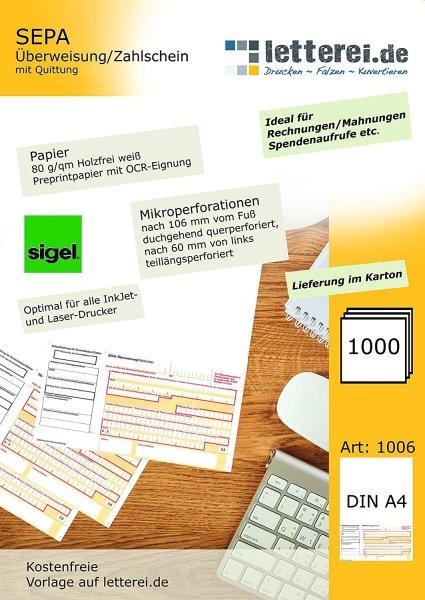 SEPA-Zahlscheine 1.000 Stück, A4 | Mit Quittung, unteres 1/3 mikroperforiert