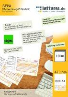 SEPA-Zahlscheine 1.000 Stück, A4 | Mit Quittung,...