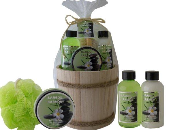 Aloe-Pflege-Geschenkset Holzbottich | 5 Pflegeprodukte mit erfrischendem Duft nach Aloe Vera
