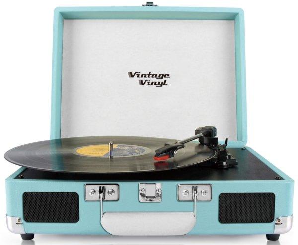 Vintage Vinyl, tragbar, hellblau | Retrodesign Plattenspieler mit integriertem Lautsprecher