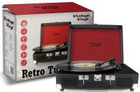Vintage Vinyl, tragbar, schwarz | Retrodesign Plattenspieler mit integriertem Lautsprecher