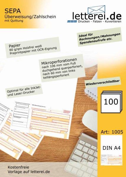 SEPA-Zahlscheine 100 Stück, A4 | Mit Quittung, unteres 1/3 mikroperforiert