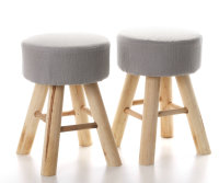 2x ARTI CASA Design-Hocker grau | Handgefertigt,...