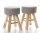 2x ARTI CASA Design-Hocker grau | Handgefertigt, rustikale Gestelle aus Echtholz | 40cm hoch