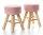 2x ARTI CASA Design-Hocker zartrosa | Handgefertigt, rustikale Gestelle aus Echtholz | 40cm hoch