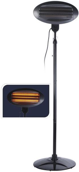 Mobiler Elektro-Stand-Heizstrahler | 2000 Watt stark, höhenverstellbar, auch für den Innenbereich