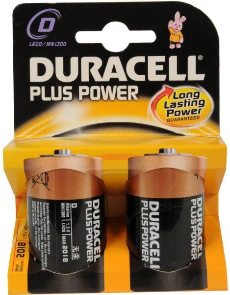 DURACELL® Batterien R20 D, 2er-Pack | Doppelpack DURACELL® Plus Power R20 D