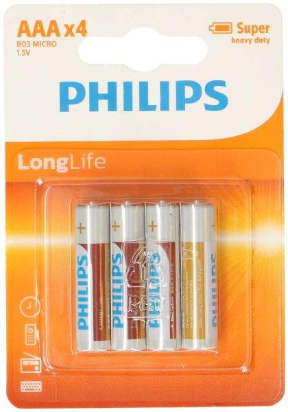 PHILIPS LongLife 4x AAA | Super heavy duty, R03 Micro, 1,5V