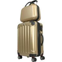 CODE|ONE® Trolley + Beautycase |  Glänzend, 3-fach Zahlenschloss, Hartschale Frosted Almond