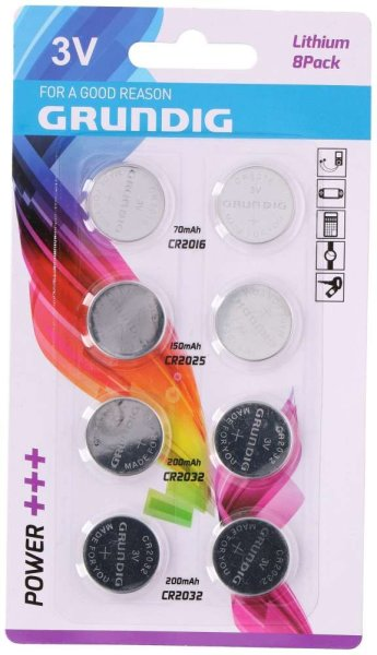 8x GRUNDIG Lithium-Knopfzellen, 3V | 2x CR2016 (70mAh), 2x CR2025 (150mAh), 4x CR2032 (200mAh)