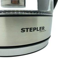 STEPLER LED-Glas-Wasserkocher 1,8 Liter | Teekocher | Kalkfilter | Edelstahl | Borosilikatglas | LED-Beleuchtung | Warmhaltefunktion