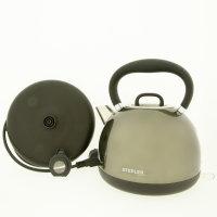 STEPLER Wasserkocher Retro-Design | Tee- und Flötenkessel | Überhitzungsschutz | Rostfreier Edelstahl (SILVER GRAY)