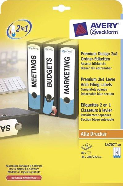 Avery Zweckform Premium Design 2in1 Ordner-Etiketten L4707-20 38x288/222mm