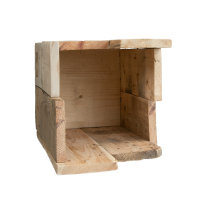 JK ORIGINAL® asymmetrisches Designer-Set aus Schirmständer und Paperkorb | 100% recyceltes Palettenholz | Handmade in Germany