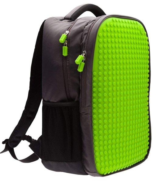 Upixel Trends Double Rucksack grün | Clevere Aufteilung, zwei Fächer, mit Seitentaschen | 15 L