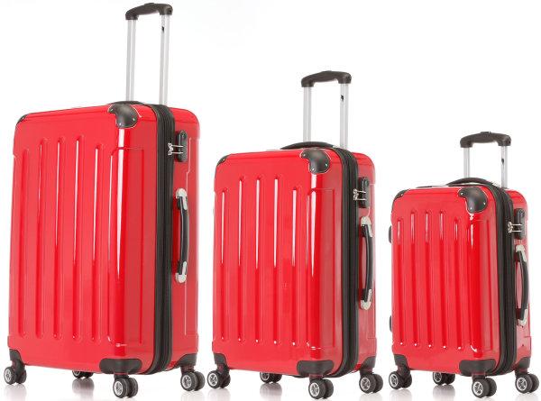 3er Hartschalen-Trolleyset rot | Dehnfalte für mehr Volumen, 360°-Doppel-Leichtlaufrollen