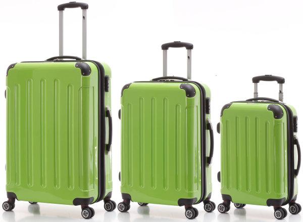 3er Hartschalen-Trolleyset grasgrün | Dehnfalte für mehr Volumen, 360°-Doppel-Leichtlaufrollen