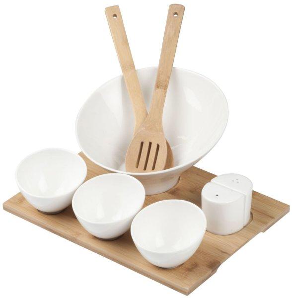 TISH Salat-Set 9-teilig Bambus | Harmonisch geschwungen, pflegeleichte Eleganz | 100% ECO