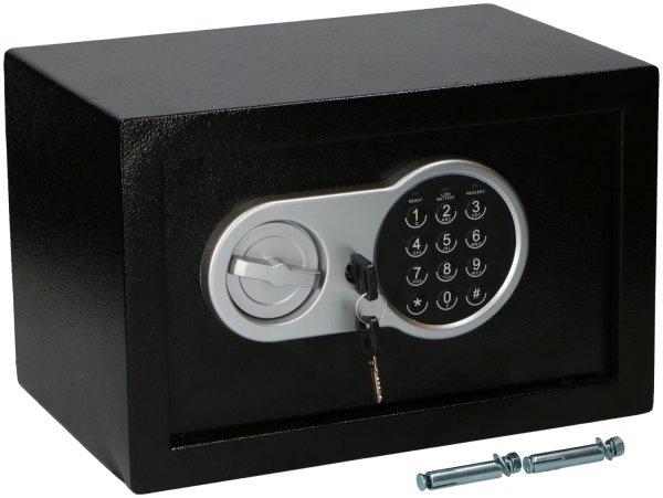 SAFE ALARM Elektronischer Safe PIN | Aus solider Stahlkonstruktion, PIN-Eingabefeld, Notschlüssel